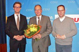 Kristian Tangermann (Vorsitzender des CDU Kreisverbandes Osterholz, Landtagsabgeordneter und -kandidat Axel Miesner, Adrian Mohr, Vorsitzender des CDU Kreisverbandes Verden